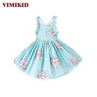 Baby Girls Dress Beach Floral Print Party Backless Dresses For Girls Vintage Toddler Girl Clothing