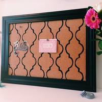 Memo / Cork / Bulletin Board / Black Mediterranean Tile Pattern / Framed / Office Wedding Decor / Lattice  / White