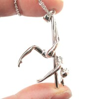 3D Pole Dancer Girl Leg Hang Aerial Dance Themed Necklace in Silver | DOTOLY