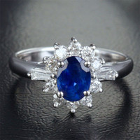 Oval Blue Sapphire Engagement Ring Diamond Halo 14K White gold 1.87ct