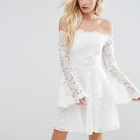 John Zack Petite Off Shoulder Contrast Allover Lace Mini Dress With Fluted Sleeve Detail at asos.com