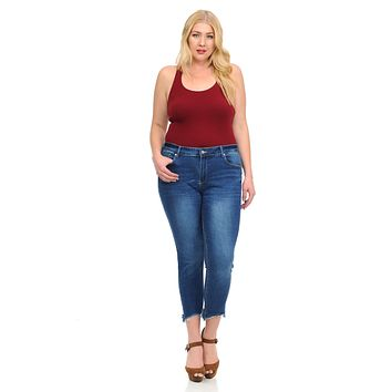 Studio Alpha Women's Jeans - Plus Size - High Waist - Push Up - Cropped - Style BS05-R