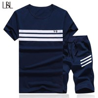 New Summer Men Set Sporting Suit Short Sleeve T shirt+Shorts Two Piece Fitness Set Spring Sweatsuit Fashion Casual Tracksuit Men