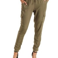 Olive Drawstring Cargo Jogger Pants by Charlotte Russe