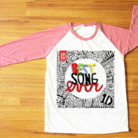 Best Song Ever T-Shirt One Direction T-Shirt 1D T-Shirt Pink Sleeve Tee Shirt Women T-Shirt Men T-Shirt Raglan Shirt Baseball T-Shirt S,M,L