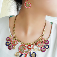 Swirl Pattern Earrings and Collar Necklace Set
