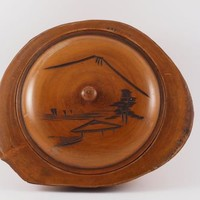 Vintage Japanese Carved Wooden Bowl with Pyrographic Art Lid - No Reserve