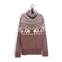 Knitting Coffee Women High Neck Cute Elephant and Dot Pattern One Size Sweater @H2909c