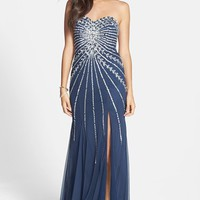 Sean Collection Embellished Strapless Mesh Gown