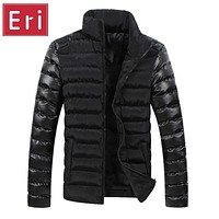 2017 New Brand Winter Men Jackets Mens Coat Fashion Leather Sleeve Design Outerwear Down Cotton Padded Jacket Plus Size 3XL X496