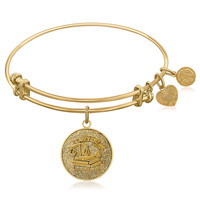 Expandable Bangle in Yellow Tone Brass with Lawyer Symbol