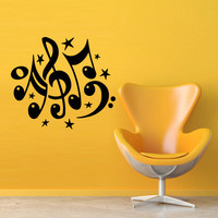 Wall decal decor decals art sticker note music song heart relax star (m389)