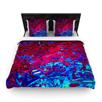 "Ebi Emporium ""Eternal Tide"" Red Blue Woven Duvet Cover"
