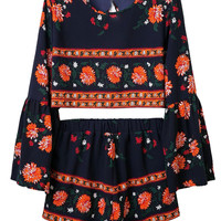 Multicolor Floral Open Back Flared Sleeve Crop Top And Shorts