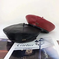 """Dior"" Fashion All-match Classic Letter Logo Leather Beret Cap Women Hat Painter Cap"