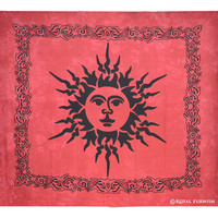 Red Bright Sun Moon Dorm Room Hippie Tie Dye Indian Tapestry Wall Hanging