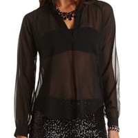 High-Low Mandarin V-Neck Tunic Top by Charlotte Russe