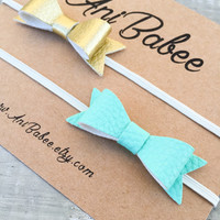 Teal and Gold Leather Bow Headband  set, Baby Headband set, Faux leather Bow Headbands, newborn headbands, infant headbands, girls headbands