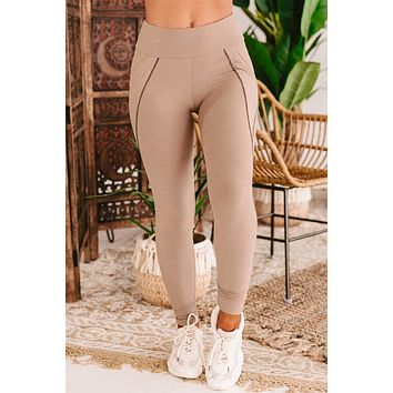 Star Of The Barre Side Pocket Leggings (Taupe)