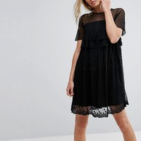 Lost Ink Smock Dress With Stars at asos.com