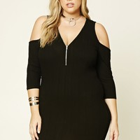Plus Size Open-Shoulder Dress