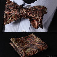 Brown, Gold FLORAL 100% SILK BUTTERFLY TIE SELF TIE BOW TIE POCKET SQUARE BOW TIE