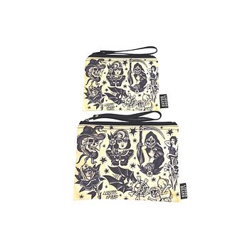 Liquorbrand traditional tattoo flash wristlet pouch bag and Coin Purse