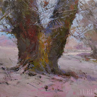 Romantic tree painting - Pink brown  modern landscape painting oil nature art on canvas