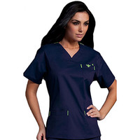 Med Couture Women's Sport Neckline Solid Scrub Top