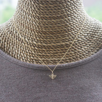 Bronze Bee Necklace - Tiny Bee Charm on 14K Gold Filled Chain . Gift Ideas for Her, Friends, Bridesmaids . Summer Jewelry