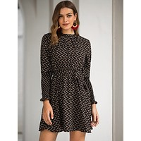 Allover Floral Print Belted A-line Dress
