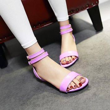 Double Ankle Straps Low Wedges Sandals 5535