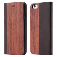Natural Wood Case for iPhone 6 /6S /Plus Flip Stylish + Card Slot