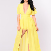 This Overlay Don't Play Dress - Yellow