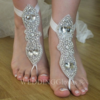 Rhinestone anklet, FREE SHIP  Beach wedding barefoot sandals, Steampunk, Beach Pool, Sexy, Yoga, Anklet , Bellydance