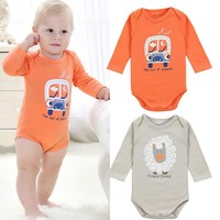 Newborn Kids Baby Jumpsuit Long Sleeve Cartoon Bodysuit One Pieces Clothes Outfits