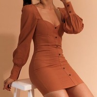 Burnt Orange Sweetheart Fitted Couture Dress