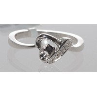 925 Sterling Silver Black and White Diamond Heart Ring - .07ct, Size 7