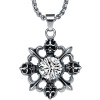 Stainless Steel Gothic Cubic Zirconia Centered Skulls Cross Pendant Necklace