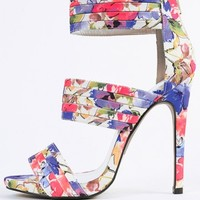 Qupid Glee-50 Floral Strappy Heels | MakeMeChic.com