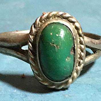 Sterling Silver Green Turquoise Ring Southwestern