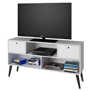 Mid-Century Modern Entertainment Center TV Stand in White Grey Wood Finish