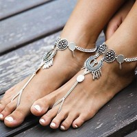 Retro Anklets for Women Fashion Bohemian Beach Foot Jewelry Silver Plated Coins Pendant Summer Hollow Carved Tassel Anklets