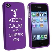 Apple iPhone 4 4S Purple Rubber Hard Case Snap on 2 piece Keep Calm and Cheer On