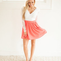 Prim and Proper Lace Dress Coral