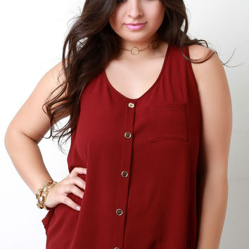 Textured Woven Button Detail Pocket Tunic Top