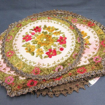 Vintage Needlepoint Tapestry Group Muylle Floral Woven Mats Red Green Yellow Flowers