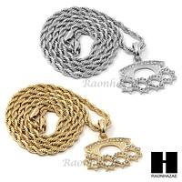 """MENS HIP HOP KNUCKLE DUSTER PENDANT 24"""" ROPE CHAIN NECKLACE N032"""
