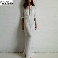 Sexy Casual Dress Ladies Long Sleeve Deep V Neck Linen Split