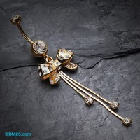 Glistening Bow-Tie Multi-Gem Belly Button Ring